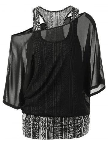 Outfit Skew Collar Racerback Sheer Blouse BLACK M