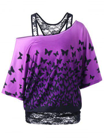 Buy Skew Collar Racerback Butterfly Print T-Shirt BLACK/PURPLE L
