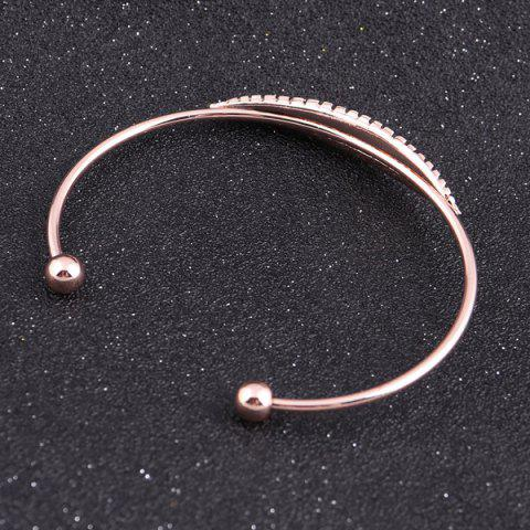 New Alloy Feather Polished Cuff Bangle - ROSE GOLD  Mobile