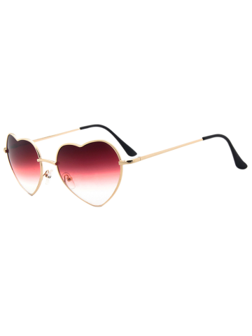 Best Heart Shape Gradient Sunglasses - DEEP RED  Mobile