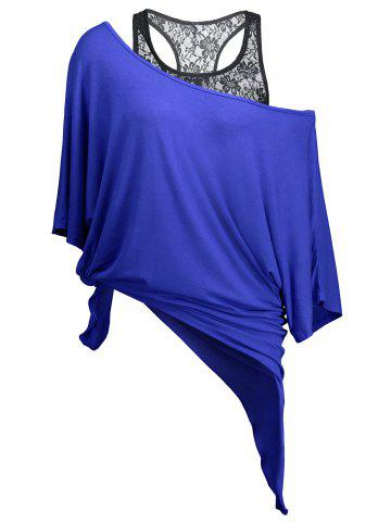 Best Handkerchief Batwing T-Shirt with Lace Tank Top BLUE XL
