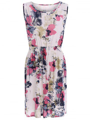 New Oil Painting Floral Stretch Waist Sundress