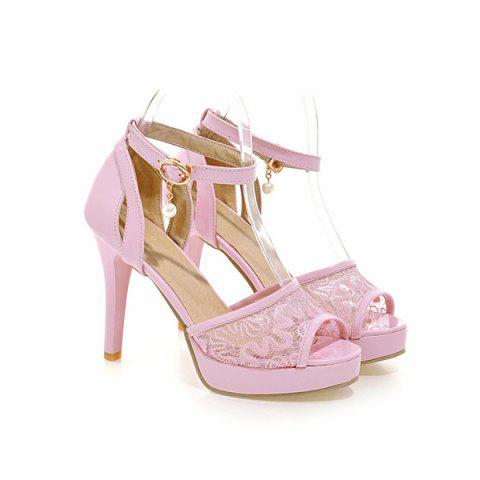Chic Mesh Ankle Strap Sandals - 38 PINK Mobile