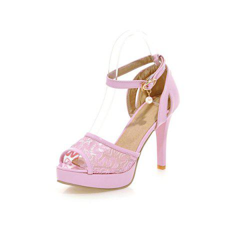 Best Mesh Ankle Strap Sandals - 38 PINK Mobile