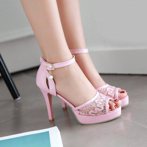 Latest Mesh Ankle Strap Sandals - 38 PINK Mobile