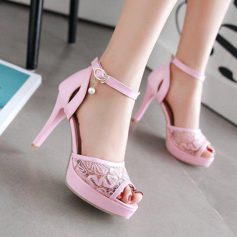 Affordable Mesh Ankle Strap Sandals - 38 PINK Mobile