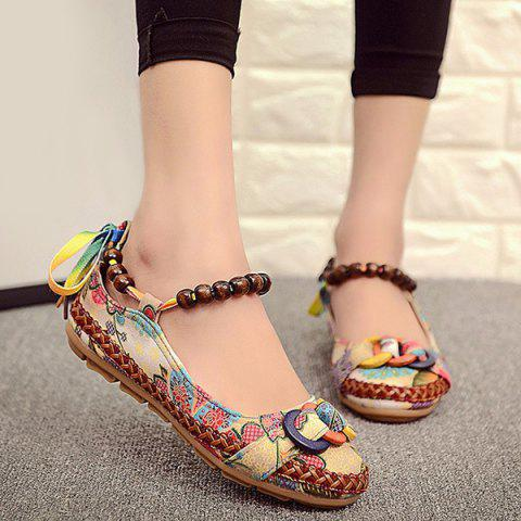 Trendy Floral Print Beading Flat Shoes - 39 FLORAL Mobile