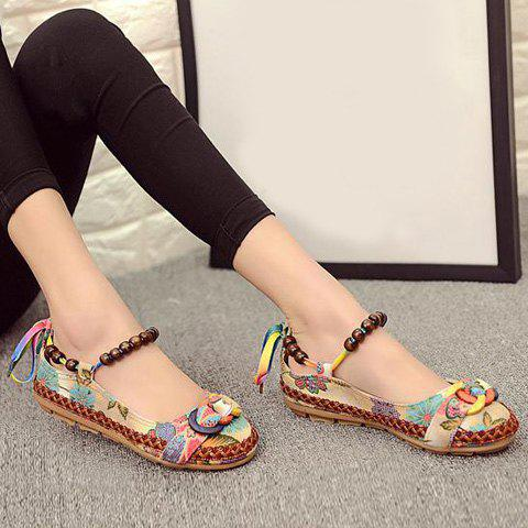 Fashion Floral Print Beading Flat Shoes - 40 FLORAL Mobile