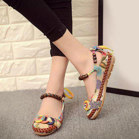 Hot Floral Print Beading Flat Shoes - 40 FLORAL Mobile