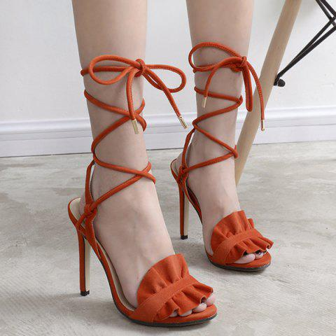 Outfits Ruffles Lace Up Gladiator Stiletto Sandals ORANGE 40