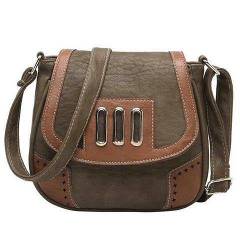 Fashion Metal Detail Colour Block Crossbody Bag