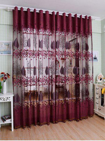 Fabric Sheer Leaf Embroidery Tulle Curtain For Living Room - Purplish Red - 100*250cm