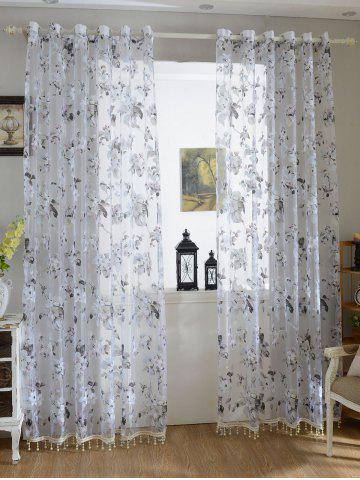Buy Floral Embroidery Sheer Tulle Curtain with Beads Pendant - 100*200CM GREY WHITE Mobile