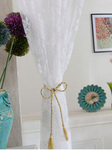 Store 2Pcs/Set Rose Sheer Tulle Fabric Curtain For Bedroom - 100*200CM (2PCS/SET) WHITE Mobile