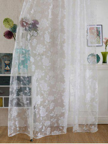 New 2Pcs/Set Rose Sheer Tulle Fabric Curtain For Bedroom - 100*200CM (2PCS/SET) WHITE Mobile