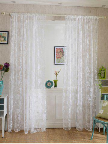 2Pcs/Set Rose Sheer Tulle Fabric Curtain For Bedroom - White - 100*200cm (2pcs And Set)