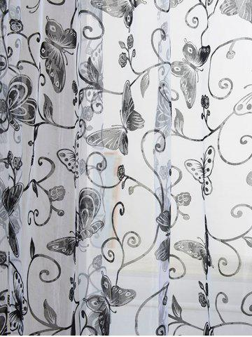 Affordable 2 Panels Butterflies Embroidery Window Sheer Tulle Curtain - 100*200CM(2PCS/SET) BLACK Mobile