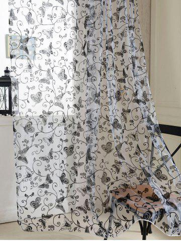 New 2 Panels Butterflies Embroidery Window Sheer Tulle Curtain - 100*200CM(2PCS/SET) BLACK Mobile