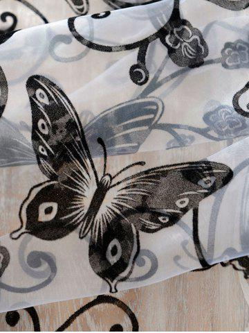 Trendy 2 Panels Butterflies Embroidery Window Sheer Tulle Curtain - 100*200CM(2PCS/SET) BLACK Mobile