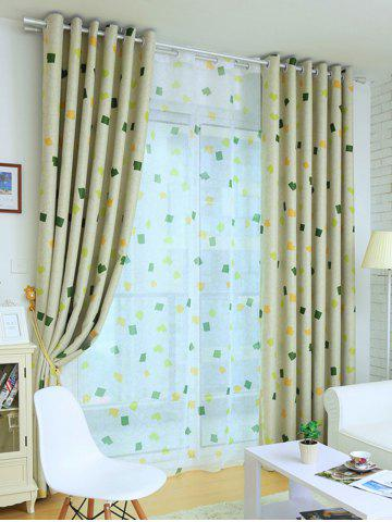 Buy Window Shading Grommet Top Blackout Curtain - 100*250CM YELLOW GREEN Mobile