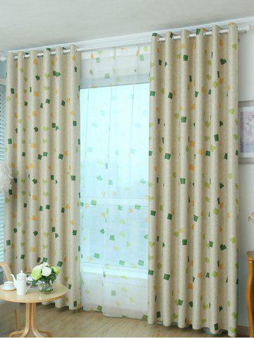 Trendy Window Shading Grommet Top Blackout Curtain - 100*250CM YELLOW GREEN Mobile