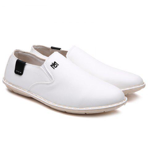 Fancy Embroidery Faux Leather Casual Shoes - 42 WHITE Mobile