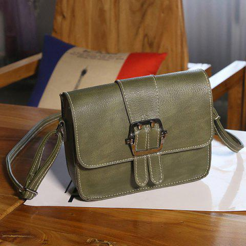 Buckle Strap Cross Body Flap Bag - Olive Green - Horizontal