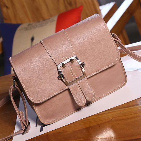 Hot Buckle Strap Cross Body Flap Bag - PINK  Mobile