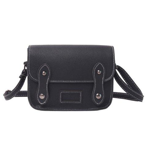 Fashion Stitching Faux Leather Cross Body Bag BLACK