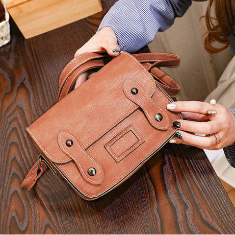Trendy Stitching Faux Leather Cross Body Bag - LIGHT BROWN  Mobile