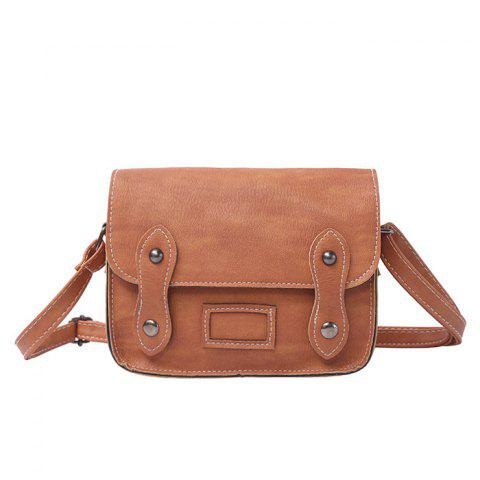 Cheap Stitching Faux Leather Cross Body Bag - LIGHT BROWN  Mobile