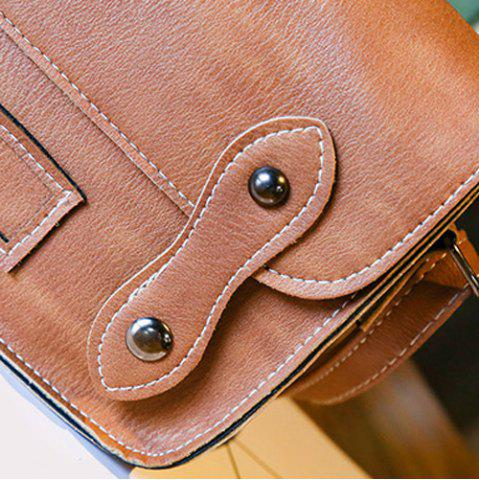 Affordable Stitching Faux Leather Cross Body Bag - LIGHT BROWN  Mobile