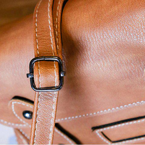 Fancy Stitching Faux Leather Cross Body Bag - LIGHT BROWN  Mobile