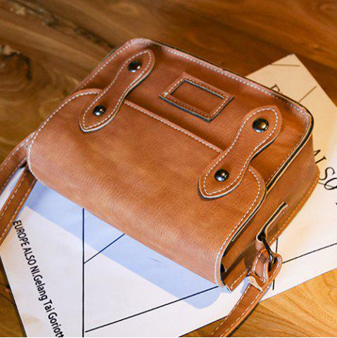 Fashion Stitching Faux Leather Cross Body Bag - LIGHT BROWN  Mobile
