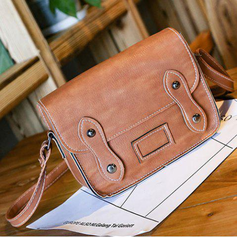 Shop Stitching Faux Leather Cross Body Bag - LIGHT BROWN  Mobile