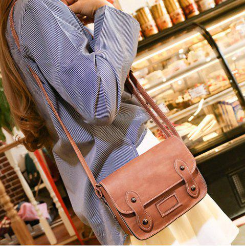 Outfits Stitching Faux Leather Cross Body Bag - LIGHT BROWN  Mobile