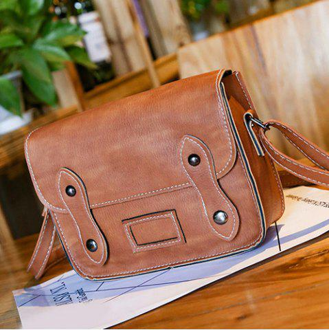 Unique Stitching Faux Leather Cross Body Bag - LIGHT BROWN  Mobile