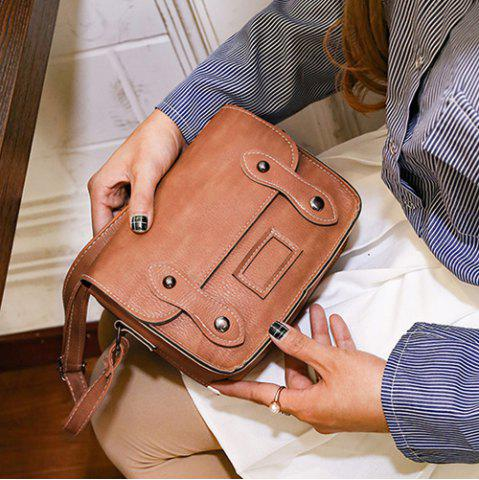 New Stitching Faux Leather Cross Body Bag - LIGHT BROWN  Mobile