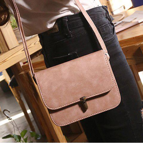 Trendy Stitching Cross Body Flap Bag - PINK  Mobile