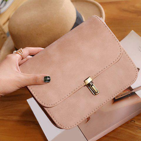 Chic Stitching Cross Body Flap Bag - PINK  Mobile