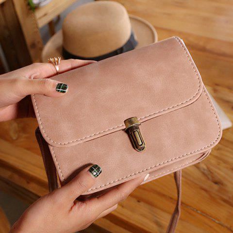 Unique Stitching Cross Body Flap Bag - PINK  Mobile