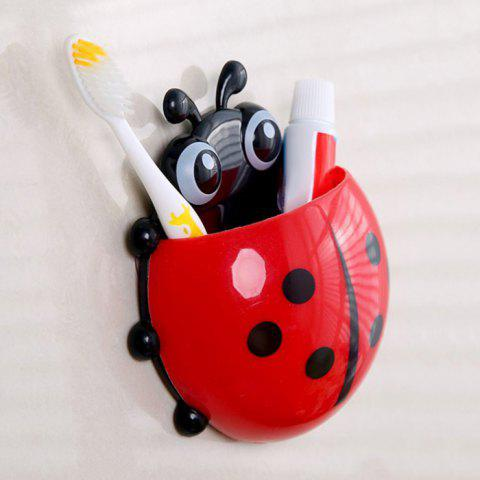 Holder Ladybird Cartoon mur d'aspiration Brosse à dents Rouge
