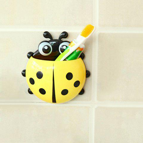 Chic Cartoon Ladybird Wall Suction Toothbrush Holder YELLOW