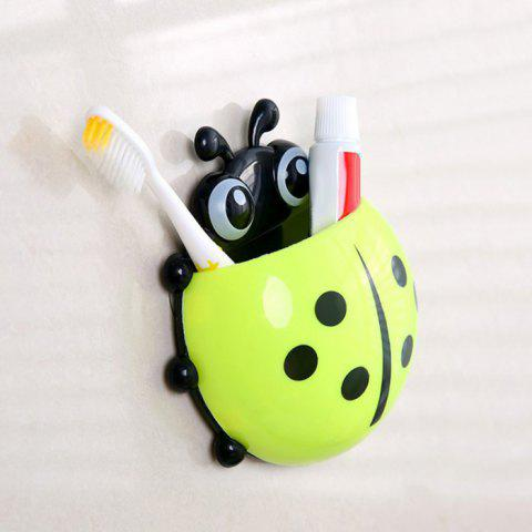 Discount Cartoon Ladybird Wall Suction Toothbrush Holder GREEN