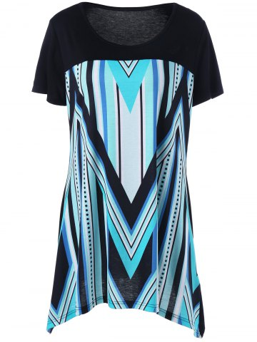 Plus Size Zigzag and Striped Longline T-Shirt - Black And Blue - 4xl