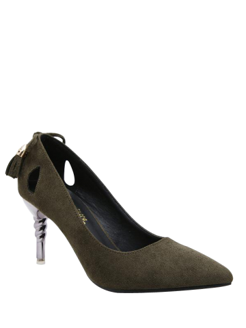 Best Hollow Out Pointy Pumps - 39 ARMY GREEN Mobile