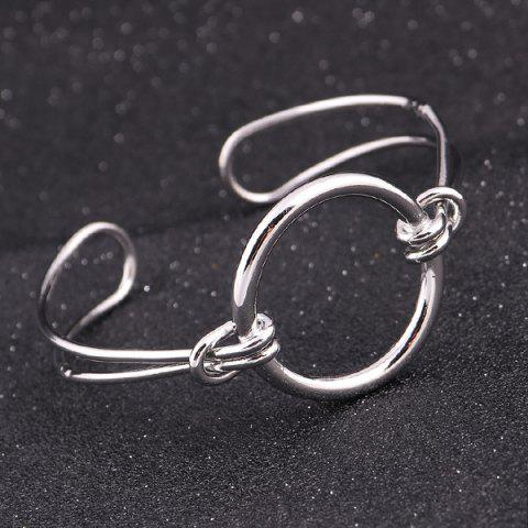 Online Alloy Circle Ring Adjustable Cuff Bangle - SILVER  Mobile