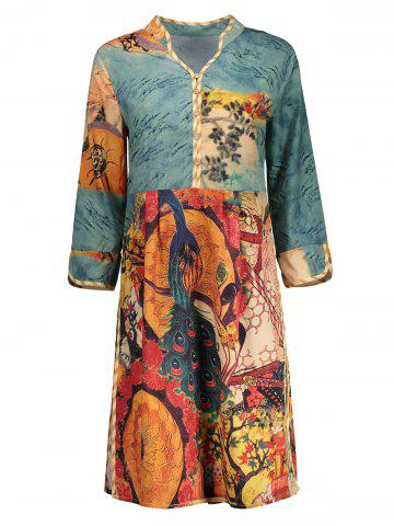 Buy Vintage Peacock Print Dress