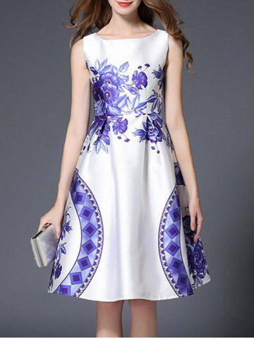 High Waist Floral Geometric Printed Flare Dress - Blue And White - M
