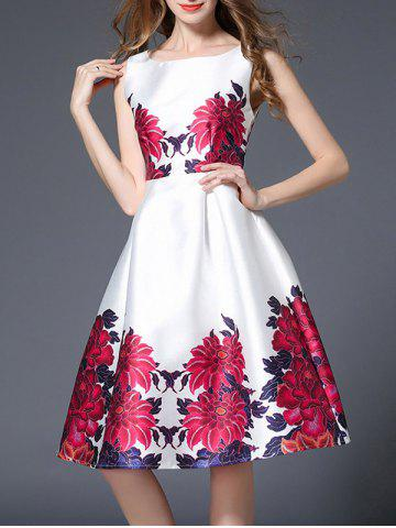 Affordable Floral Print Sleeveless High Waist Flare Dress WHITE M